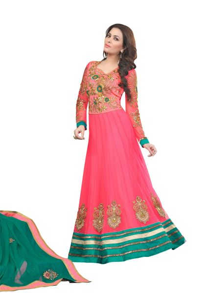 Desoigner Embroidered Pink Long Anarkali Dress Material