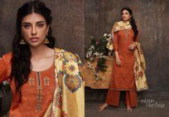 Designer Orange Pashmina Winter Dress Material with Printed Chanderi Dupatta