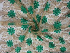 Designer Net Green Golden Sequin Embroidered Fabric for Blouse Crop top Pre Cut 1.0 Meter (102 Cms)