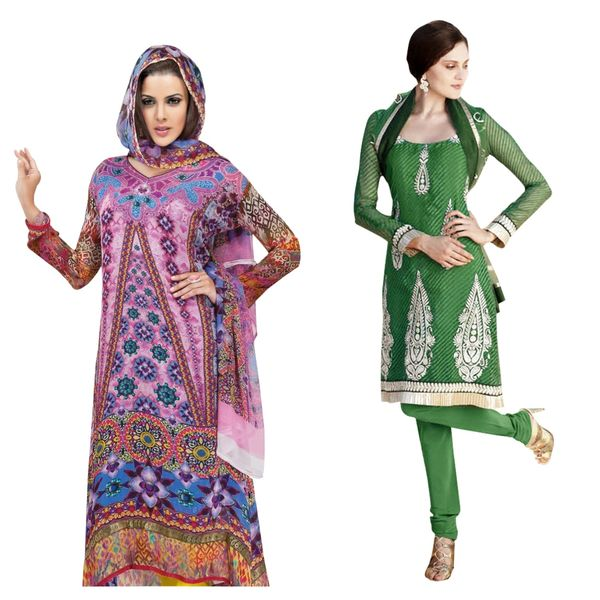 Designer Georgette Crepe Embroidered Dress Material Combo Set of Two