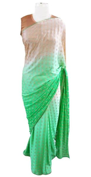 Shaded Green Crepe lacer Saree with Soft Brocade Blouse Fabric ACC103