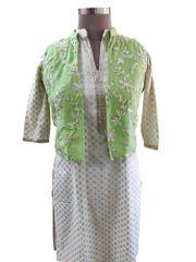 Light Green Gotta Embroidered Ethnic Jacket Shrug