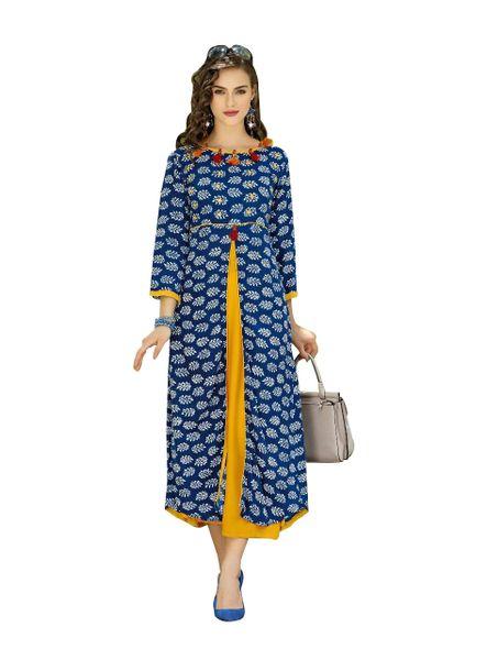 Designer Blue Cotton Printed Long Kurti Kurta Dress Style Size 42 XL SC1007