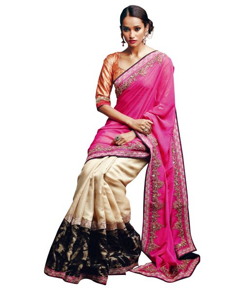 Designer Rani Chikoo Georgette Raw Silk Pattern Saree SC33519