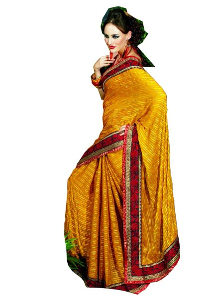 Yellow Satin stripe Chiffon Indian Saree SC3314