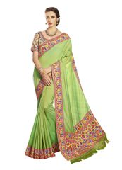 Exclusive Green Silk Embroidered Saree with designer blouse fabric SC4091
