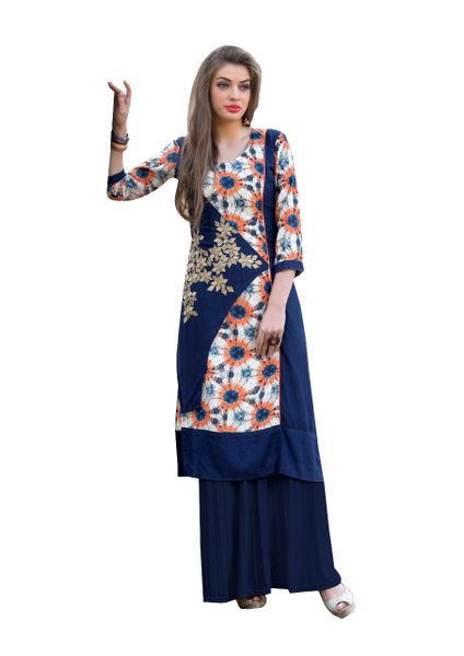 Designer Rayon Cotton Blue Embroidered Long Kurta Kurti Size XL SCKS104