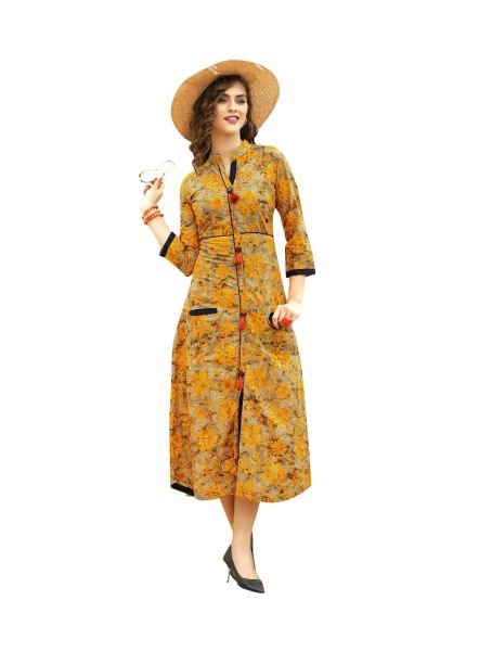 Designer Yellow Cotton Printed Long Kurti Kurta Dress Style Size 42 XL SC1012