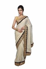 Designer Cream Khaddi Style Jequard Crepe saree with Heavy Border SP16