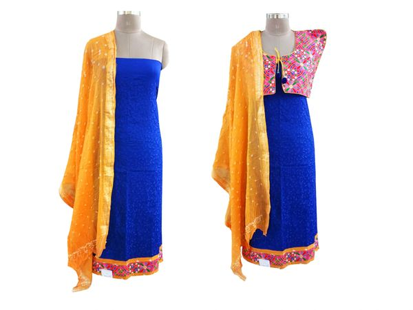 Exclusive BlueCotton Dress Material With Kutchi Embroidered Ethnic Jackets JSD15