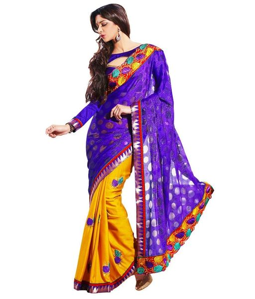 Purple Yellow Embroidered Zari Woven Saree SC32014