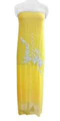 Jaipuri Pearl Hand Work Yellow Georgette Kurti Kurta Fabric GP49