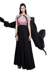 Designer Black Georgette Embroidered Dress Material With Chiffon Dupatta B7142