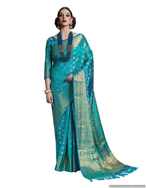 Blue Two Tone Silk Saree