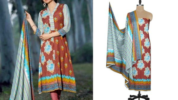 Designer Original Pakistani Sana Samia Brown Lawn Cotton Dress material SSL8B