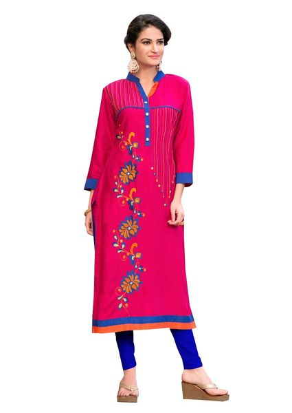 Designer Rayon Cotton Pink Embroidered Long Kurta Kurti Size XL SCKS212