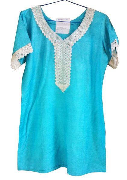 Blue Cotton Silk Kurta