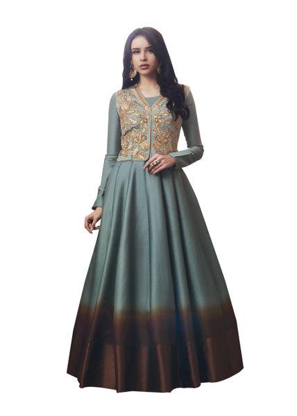 Designer Shaded Tussar Silk Semi Stitched Dress Material SC3063