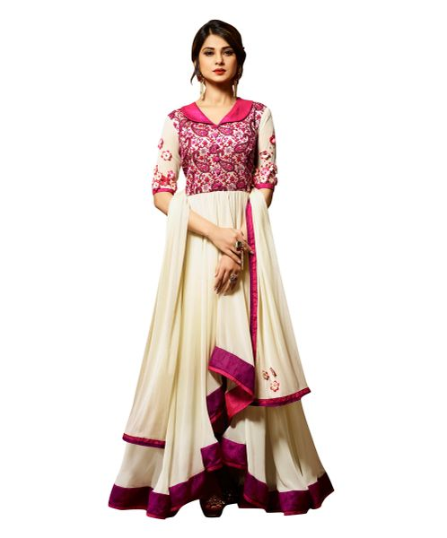 Designer Off White Pink Semi Stitched Banglore Silk Georgette Dress Material