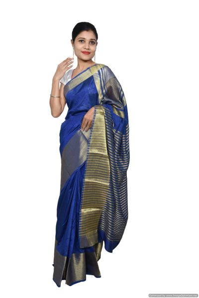 Blue Banglore Silk Saree with Running Blouse Fabric BGS04