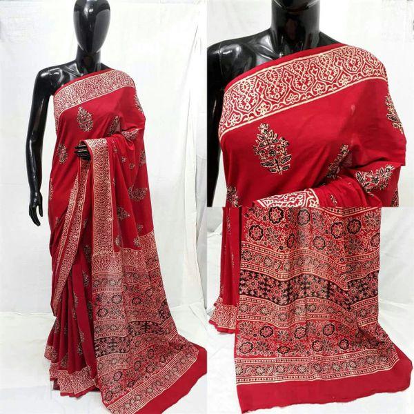 Exclusive Ajrakh Hand Block Printed Red Cotton Saree NV08