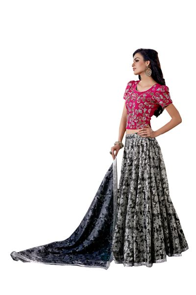 Designer Stitched Black White Chanderi Lehenga Ghagra Choli Dupatta Skirt Crop Top SIZE L 40 SC1008