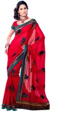Georgette Embroidered Red Saree SC3318A