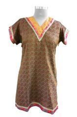 Brown Banarsi Jequard Semi Stitched Kurta (Plus Size_4XL)