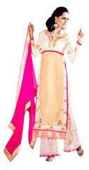 Off White Georgette Net Cream Straight Cut Dress Material