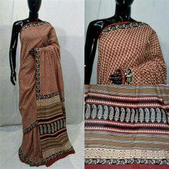 Exclusive Bagru Hand Block Printed Maroon Cotton Saree NV10