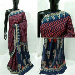 Exclusive Bagru Hand Block Printed Blue Cotton Saree NV02