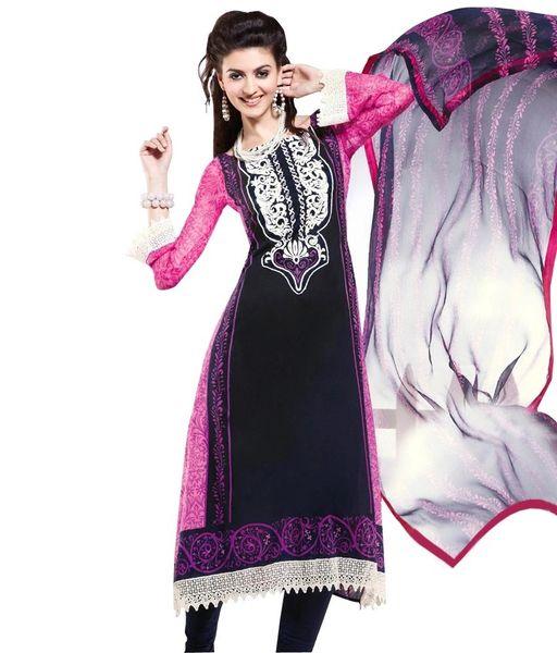 Cotton Black/Pink Salwar Kameez Churidar Fabric SC8146A