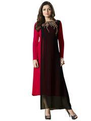 Designer Red Black Georgette Kurti Kurta Dress Size XL SCLT902