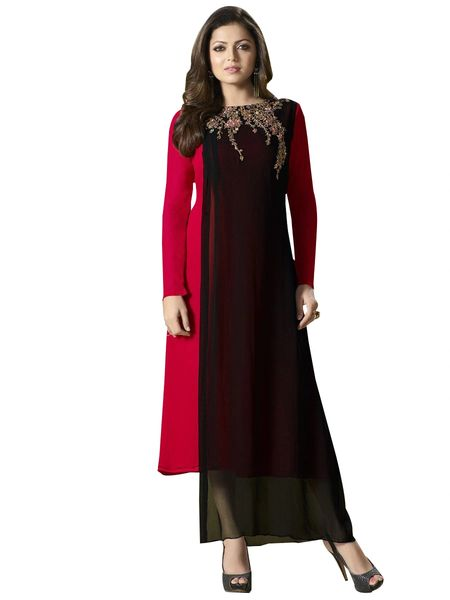 Designer Red Black Georgette Kurti Kurta Dress Size XL SCLT902