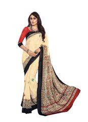 Beige Madhubani Printed Art Silk Saree SC21332
