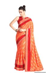 Designer Orange Handloom Silk Light Embellished Saree SCMIS12