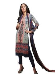Resham Yoke Embroidered Printed Cotton Dress Material SC2739