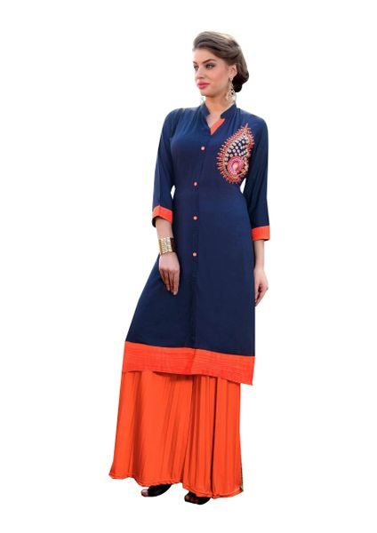 Designer Rayon Cotton Blue Embroidered Long Kurta Kurti Size XL SCKS113