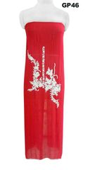 Jaipuri Pearl Hand Work Red Georgette Kurti Kurta Fabric GP46