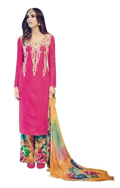 Designer Pink Embroidered Pashmina Winter Dress Material with Chiffon Dupatta