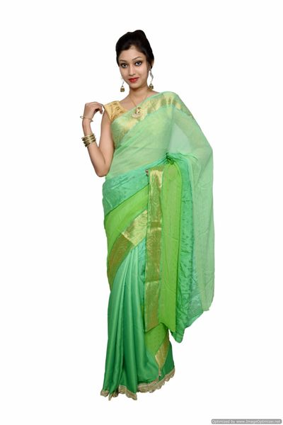 Designer Zari Border Green Silk Chiffon Saree SP06