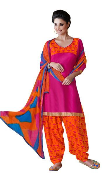 Pink Cotton Patiala Printed Dress Material