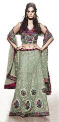 Net Green Embroidered 3 Piece Partywear Lehenga Choli Dupatta SC5709