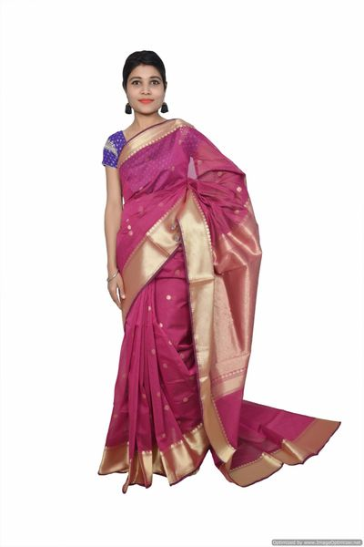 Purple Banarsi Cotton Silk Saree with Running Blouse Fabric BS21