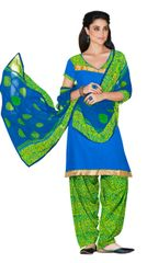 Blue Color Cotton Patiala Printed Dress Material