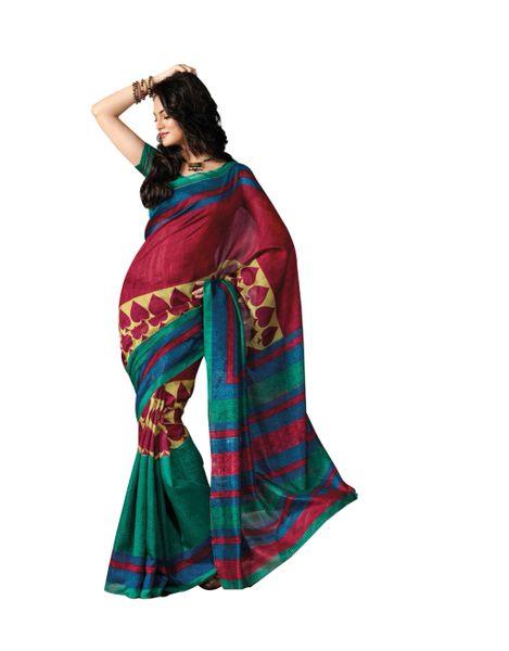 Maroon Multi Bhagalpuri Cotton Silk Saree SC7214