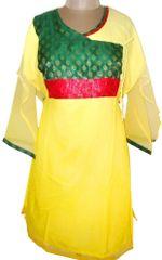 Light Yellow Chiffon Semi- Stitched Kurta