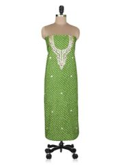 Jaipuri Lehariya Cotton Gotta Patti work Green Kurti Kurta Fabric GP29