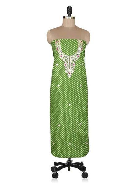 Jaipuri Lehariya Cotton Gotta Patti work Green Kurti Kurta Fabric GP29