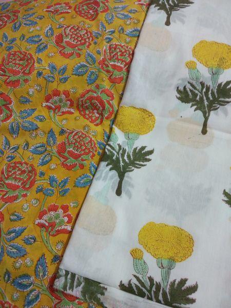 Exclusive Block Printed Kurta Palazo Pant Mughal Butta Fabric Only BP37